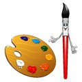 Cartoon paintbrush character with art palette cute smiling paint brush red handle and wooden colorful paints for design Royalty Free Stock Photo