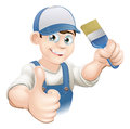 Cartoon painter decorator illustration of a or holding a paintbrush and giving a thumbs up Royalty Free Stock Images