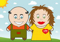 Cartoon pair in love illustration of unordinary couple on walk during sunny day Royalty Free Stock Image