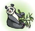 Cartoon panda and bamboo leaves Stock Photo