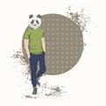 Cartoon Panda Bear Hipster Wear Fashion Clothes Retro Abstract Background
