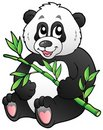 Cartoon panda eating bamboo Royalty Free Stock Images
