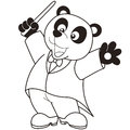 Cartoon panda music conductor black white Stock Images