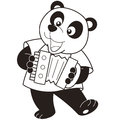 Cartoon panda playing an accordion black and white Stock Photography