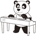 Cartoon panda playing electronic organ black white Royalty Free Stock Images