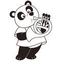 Cartoon panda playing french horn black white Stock Images