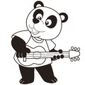 Cartoon panda playing a guitar black and white Royalty Free Stock Photo