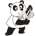 Cartoon panda playing a triangle black and white Stock Photos