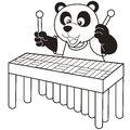 Cartoon panda playing a vibraphone black and white Royalty Free Stock Photos