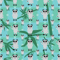 Cartoon panda symmetry bamboo leaf seamless pattern