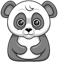 Cartoon panda vector with big head and staring eyes without foot Royalty Free Stock Photography