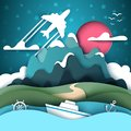 Cartoon paper landscape. Mountain, ship, anchor, handwheel, airplane.