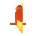Cartoon parrot flying bird vector illustration.