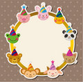 Cartoon Party animal head card Stock Images