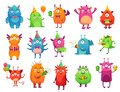 Cartoon party monsters. Cute monster happy birthday gifts, funny alien mascot and monster with greeting cake vector