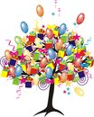 Cartoon party tree with baloons Royalty Free Stock Photo