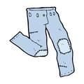 Cartoon patched old jeans hand drawn illustration in retro style vector available Stock Image
