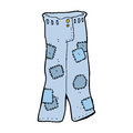 Cartoon patched old jeans hand drawn illustration in retro style vector available Royalty Free Stock Image