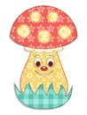 Cartoon patchwork mushroom 2 Royalty Free Stock Photography
