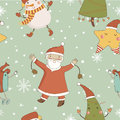 Cartoon pattern with christmas characters concept seamless in vector Royalty Free Stock Photo