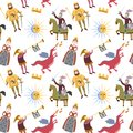 Cartoon pattern with medieval characters on white background.