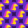 Cartoon pattern with yellow cartoon baby dinosaur pattern on purple background. Dinosaur baby girl cute print. Cute