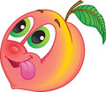 Cartoon peach or nectarine cute fruit character with happy smile for flavored fruit candy drink Stock Image