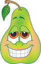 Cartoon pear green character with big grin for flavored fruit candy or drink Stock Photo