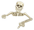 Cartoon Peeking Skeleton Sign Royalty Free Stock Photo