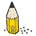 Cartoon pencil stub hand drawn illustration in retro style vector available Stock Photography
