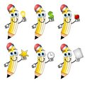 Cartoon Pencils Holding Objects Royalty Free Stock Images