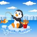 Cartoon penguin fishing on the ice