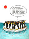 Cartoon about penguins resemblance gag with a speech balloon Stock Photo