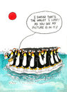 Cartoon about penguins resemblance gag with a speech balloon Stock Image