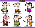 Cartoon people emotions characters set illustration of funny or expressions Stock Images