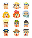 Cartoon people job face icons set Royalty Free Stock Photography