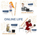 Cartoon people with laptops vector set.