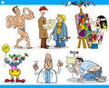 Cartoon people occupations characters set illustration of funny professional Royalty Free Stock Photos