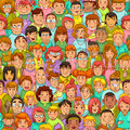 Cartoon people pattern seamless with Stock Photos