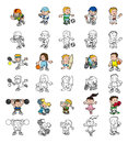 Cartoon people playing sports a set of or children color and black and white outline versions Stock Photography