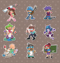 Cartoon people stickers Royalty Free Stock Photography