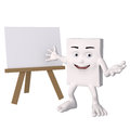 Cartoon person with blank easel Royalty Free Stock Photos