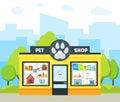 Cartoon Pet Shop Building. Vector