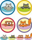 Cartoon pets in cups- stickers (labels) Royalty Free Stock Photography