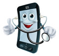 Cartoon phone character holding a stethoscope illustration of doctor Stock Photography