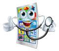 Cartoon phone holding a stethoscope mascot man and giving thumbs up Royalty Free Stock Images