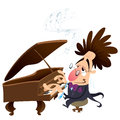 Cartoon pianist with crazy hair while performing Stock Photo