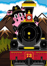 Cartoon Pig Cowboy and Train