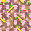 Cartoon pig symmetry fast food seamless pattern Royalty Free Stock Photo