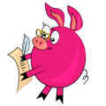 Cartoon pig writing letter. animal image Royalty Free Stock Photography